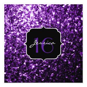 Beautiful Purple glitter sparkles  Square 5.25x5.25 Square Paper Invitation Card