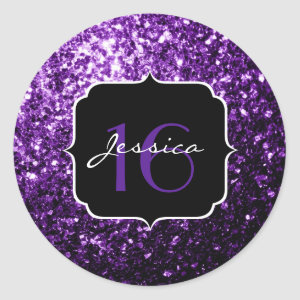 Beautiful Purple glitter sparkles  Classic Round Sticker