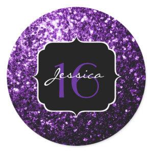 Beautiful Purple glitter sparkles  Classic Round Sticker