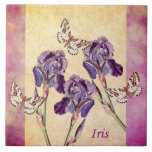 Beautiful Purple Iris Flowers and Butterfly Large Square Tile