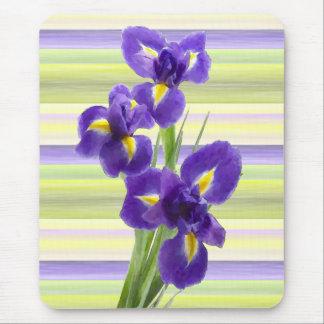 Beautiful Purple Iris Watercolor Stripes Pattern Mouse Pad