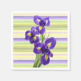 Beautiful Purple Iris Watercolor Stripes Pattern Napkin