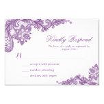 Beautiful Purple Lavender Lace Wedding RSVP Card