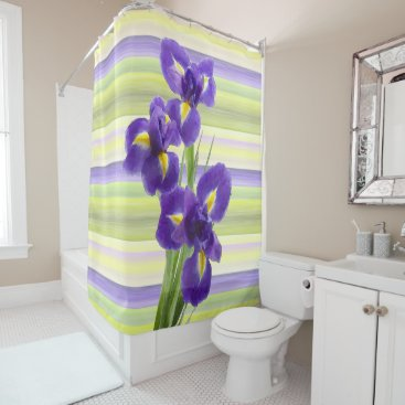 Beach Themed Beautiful Purple Lilac Irises Watercolor Painting Shower Curtain