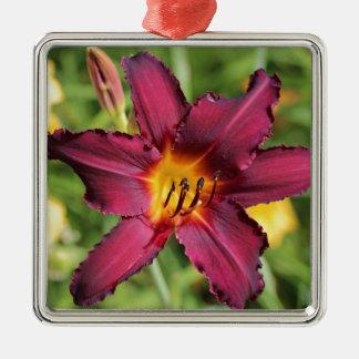 Beautiful purple lily flower metal ornament