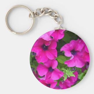 Beautiful purple petunias print keychain