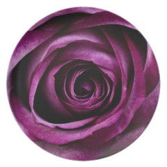 Beautiful Purple Rose Flower Petals Girly Gifts Party Plates