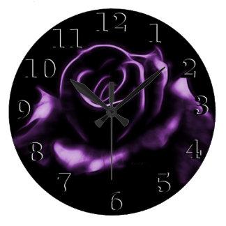 Beautiful Purple Rose Large Clock