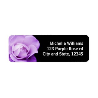 Beautiful purple rose photo return address label