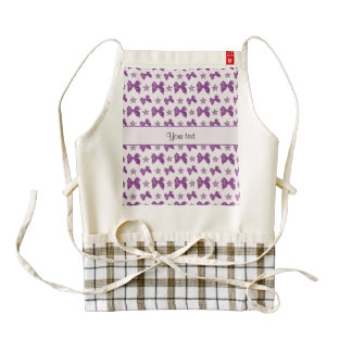 Beautiful Purple Satin Bows Zazzle HEART Apron