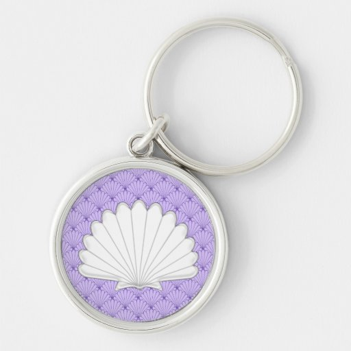 Beautiful Purple Scallop Shell Repeating Patt Keychains