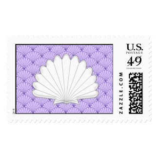 Beautiful Purple Scallop Shell Repeating Patt Postage Stamps
