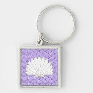 Beautiful Purple Scallop Shell Repeating Patt Silver-Colored Square Keychain