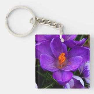 Beautiful Purple Tulip Flowers Square Acrylic Key Chain