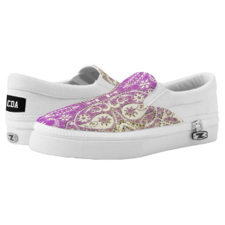 Beautiful Purple Yellow Abstract Printed Shoes