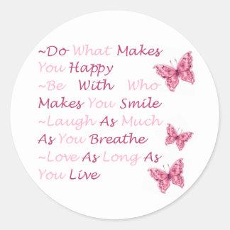 Beautiful Quotes Classic Round Sticker