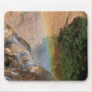 Beautiful Rainbow and Waterfall - Photographic Art Mouse Pad