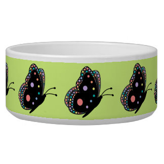 Beautiful Rainbow Butterflies (Green Background 2) Pet Food Bowl
