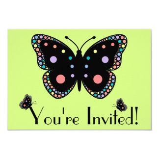 Beautiful Rainbow Butterflies (Green Background) 3.5x5 Paper Invitation Card