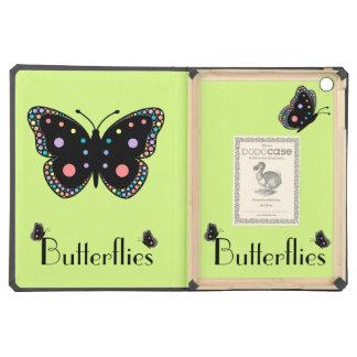 Beautiful Rainbow Butterflies Green Background iPad Air Covers