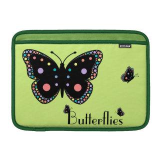 Beautiful Rainbow Butterflies (Green Background) MacBook Air Sleeve