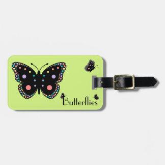 Beautiful Rainbow Butterflies (Green Background) Travel Bag Tag
