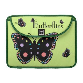 Beautiful Rainbow Butterflies (Green Background) Sleeves For MacBooks