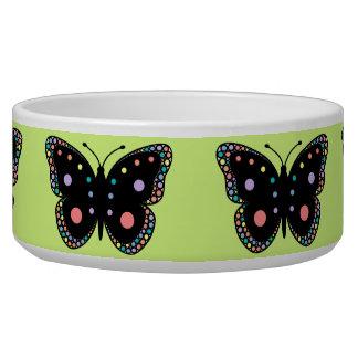 Beautiful Rainbow Butterflies (Green Background) Pet Food Bowl