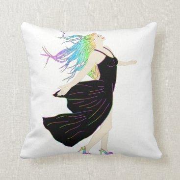 Beach Themed Beautiful Rainbow Goddess Throw Pillow
