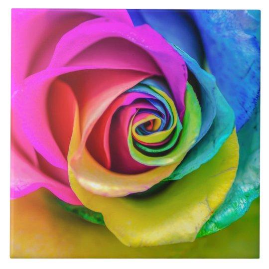 Beautiful Rainbow Rose Ceramic Tile Zazzle