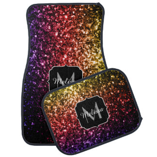 Beautiful Rainbow sparkles Monogram Car Floor Mat