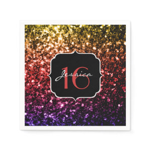 Beautiful Rainbow sparkles Sweet 16 napkins Standard Cocktail Napkin