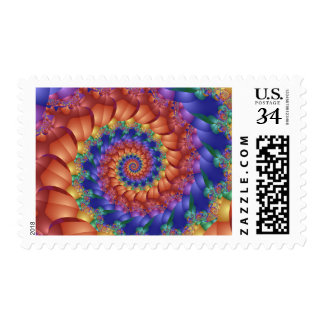 Beautiful Rainbow Spiral Postage Stamps