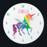 "Beautiful Rainbow Unicorn Personalized Kids Girly Large Clock<br><div class=""desc"">Cool Rainbow Watercolor Unicorn Pretty Kids Personalized Clock. Personalize this fun and colorful unicorn gift in bright pink font. Silhouette of unicorn in a rainbow of watercolor brushstrokes of red, orange, yellow, green, blue and purple. White background lets the bright colors stand out beautifully. Clock numbers in a bright green....</div>"