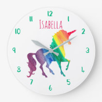 Beautiful Rainbow Unicorn Personalized Kids Girly Large Clock
