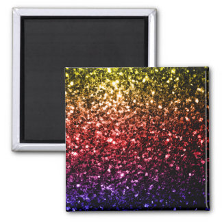 Beautiful rainbow yellow red purple sparkles 2 inch square magnet