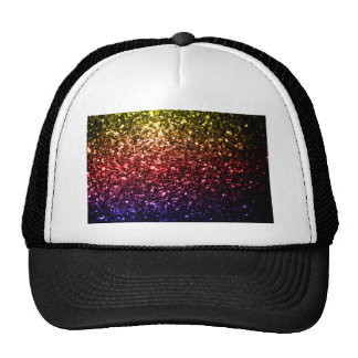 Beautiful rainbow yellow red purple sparkles trucker hat