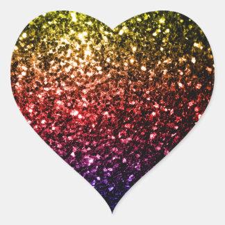 Beautiful rainbow yellow red purple sparkles heart sticker