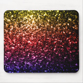 Beautiful rainbow yellow red purple sparkles mouse pad