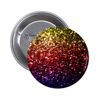 Beautiful rainbow yellow red purple sparkles pinback button