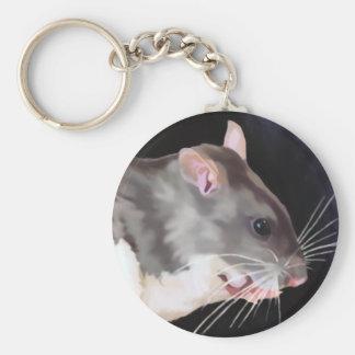 Beautiful Rat Painting Basic Round Button Keychain