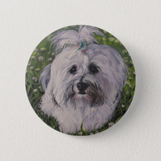 Beautiful Realistic Havanese Dog Art Painting Button