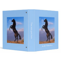 Beautiful rearing black horse custom girls name binder