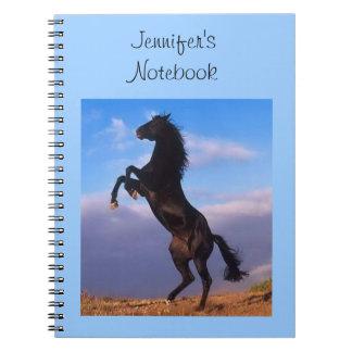 Beautiful rearing black horse custom girls name spiral note book