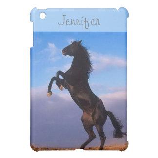 Beautiful rearing black horse custom name ipad cas iPad mini cases