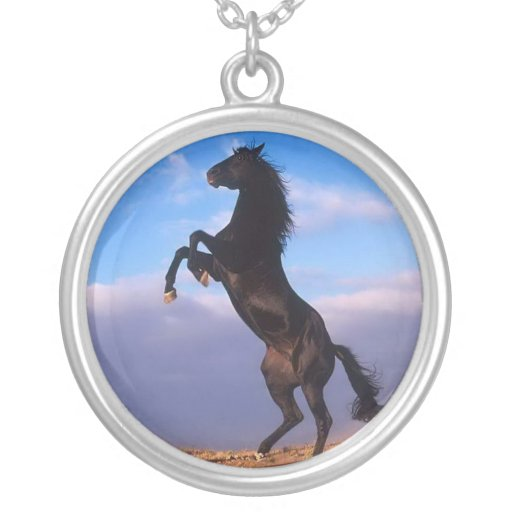 Beautiful rearing black horse with blue sky photo personalized necklace