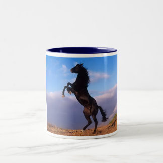 Beautiful rearing black horse with blue sky photo Two-Tone coffee mug