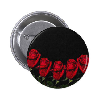 Beautiful Red Abstract Roses Pinback Button