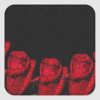 Beautiful Red Abstract Roses Square Sticker