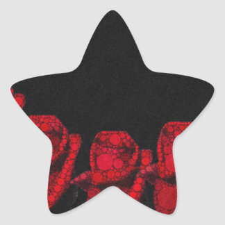 Beautiful Red Abstract Roses Star Sticker